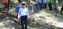 بازدید مهندس کریمی از چشمه پیرغار آبشار فارسیان شهرستان گالیکش